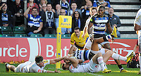Kyle Eastmond of Bath Rugby is held up over the try-line. Aviva Premiership match, between Bath Rugby and Harlequins on October 31, 2015 at the Recreation Ground in Bath, England. Photo by: Alex Davidson / JMP for Onside Images
