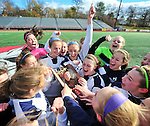 (Brockton MA 11/14/15) Medway celebrates after winning the division three south girls soccer final, Saturday, November 14, 2015, at Brockton High School. Herald Photo by Jim Michaud