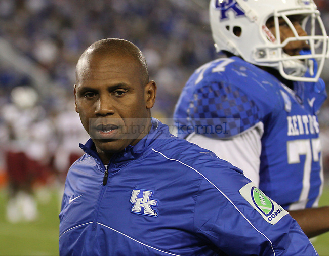 UK's head coach Joker Phillips shows some frustration with his team during the second half of the game Saturday night in Lexington, Ky., on Saturday, September, 29, 2012. Photo by James Holt | Staff
