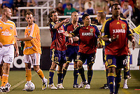 Real Salt Lake players Kyle Beckerman, Chris Wingert (center) and Tino Nunez following an on field altercation with Houston Dynamo players Corey Ashe and Dwayne De Rosario in the 0-0 draw between Real Salt Lake and the Houston Dynamo on July 3, 2008 at Rice-Eccles Stadium in Salt Lake City, Utah.