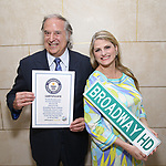 Stewart F. Lane and Bonnie Comley pose with<br /> Guinness World Records Certificate Achieved By BroadwayHD for the First Broadway Show,  'She Loves Me',  to be live streamed at the home of Stewart F. Lane &amp; Bonnie Comley on April 21, 2017 in New York City.