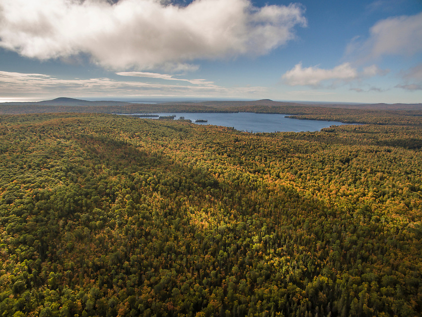 Aerial drone image of Brockway Mountain and Lake Superior near Copper Harbor, Michigan.