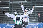 Uppsala 2014-01-12 Bandy  IK Sirius - GAIS Bandy :  <br />  GAIS Jacob Bucht jublar med GAIS Adam Rudell efter sitt 4-3 m&aring;l<br /> (Foto: Kenta J&ouml;nsson) Nyckelord:  jubel gl&auml;dje lycka glad happy