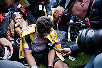 An exhausted & dissapointed Wout Van Aert (BEL/Jumbo-Visma) trying to give an interview post-race<br /> <br /> 117th Paris-Roubaix 2019 (1.UWT)<br /> One day race from Compiègne to Roubaix (FRA/257km)<br /> <br /> ©kramon