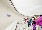4 December 2015: Tristan Jeskanen, sliding for Finland, enters a curve during his first run of the Viessmann Luge World Cup at the Olympic Sports Track in Lake Placid, New York, USA. Mandatory Credit: Ed Wolfstein Photo *** RAW (NEF) Image File Available ***