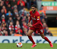 7th March 2020; Anfield, Liverpool, Merseyside, England; English Premier League Football, Liverpool versus AFC Bournemouth; Joe Gomez of Liverpool controls the ball