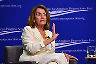 Washington, DC - July 16, 2018: House democratic leader Nancy Pelosi participates in a pro-voter and anti-corruption congressional discussion moderated by Neera Tanden at the Center for Amercian Progress in Washington, DC.. July 16, 2018.  (Photo by Don Baxter/Media Images International)