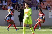 Houston, TX - Sunday Oct. 09, 2016: Crystal Dunn celebrates scoring, Ali Krieger during the National Women's Soccer League (NWSL) Championship match between the Washington Spirit and the Western New York Flash at BBVA Compass Stadium. The Western New York Flash win 3-2 on penalty kicks after playing to a 2-2 tie.