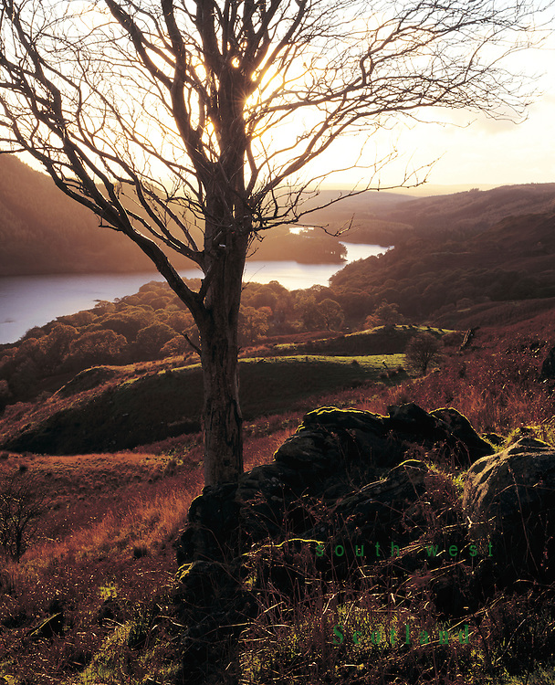 Winter sunset looking down GlenTrool from the side of Eschoncan in the Galloway Forest Park Scotland UK