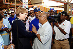 DURBAN - 27 March 2007 - The new leader of the Democratic Alliance Helen Zille interacts with a potential voter at the Raj Mahal shopping centre in Durban's Merebank suburb where a municipal by-election for the eThekwini municipality's Ward 68 is set to take place..Picture: Giordano Stolley