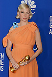 Michelle Williams 122 poses in the press room with awards at the 77th Annual Golden Globe Awards at The Beverly Hilton Hotel on January 05, 2020 in Beverly Hills, California.