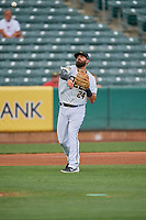 Kaleb Cowart (24) of the Salt Lake Bees during the game against the New Orleans Baby Cakes at Smith's Ballpark on August 4, 2019 in Salt Lake City, Utah. The Baby Cakes defeated the Bees 8-2. (Stephen Smith/Four Seam Images)