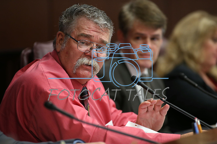 Nevada Sen. Pete Goicoechea, R-Eureka, works in committee at the Legislative Building in Carson City, Nev., on Tuesday, May 5, 2015. Assemblyman Chris Edwards, R-Las Vegas, is at right.<br /> Photo by Cathleen Allison