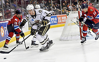 HERSHEY, PA - DECEMBER 01: Hershey Bears defenseman Tyler Lewington (2) skates the puck from the corner during the Springfield Thunderbirds at Hershey Bears on December 1, 2018 at the Giant Center in Hershey, PA. (Photo by Randy Litzinger/Icon Sportswire)