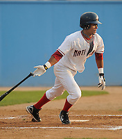 June 21, 2008: Infielder Michael Martinez (3) of the Potomac Nationals, Carolina League affiliate of the Washington Nationals, in a game against the Frederick Keys at G. Richard Pfitzner Stadium in Woodbridge, Va. Photo by:  Tom Priddy/Four Seam Images