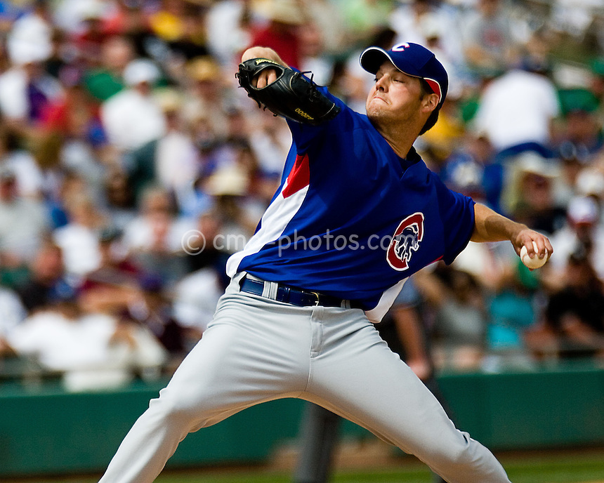 Mar 15, 2008; Tucson, AZ, USA; Chicago Cubs pitcher Rich Hill throws a pitch during a game against the Chicago White Sox at Tucson Electric Park.  The White Sox beat the Cubs 5-3.