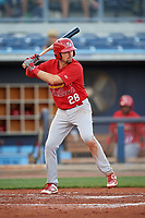 Palm Beach Cardinals first baseman Stefan Trosclair (28) at bat during a game against the Charlotte Stone Crabs on April 21, 2018 at Charlotte Sports Park in Port Charlotte, Florida.  Charlotte defeated Palm Beach 5-2.  (Mike Janes/Four Seam Images)