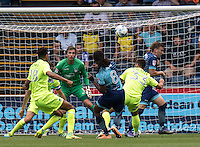 Marcus Bean of Wycombe Wanderers blasts his shot over the bar during the Sky Bet League 2 match between Wycombe Wanderers and Colchester United at Adams Park, High Wycombe, England on 27 August 2016. Photo by Liam McAvoy.