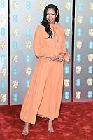 Laura Harrier<br /> arriving for the BAFTA Film Awards 2019 at the Royal Albert Hall, London<br /> <br /> ©Ash Knotek  D3478  10/02/2019