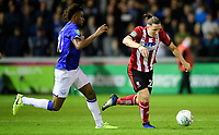 Lincoln City's Aaron Lewis vies for possession with Everton's Andre Gomes<br /> <br /> Photographer Chris Vaughan/CameraSport<br /> <br /> The Carabao Cup Second Round - Lincoln City v Everton - Wednesday 28th August 2019 - Sincil Bank - Lincoln<br />  <br /> World Copyright © 2019 CameraSport. All rights reserved. 43 Linden Ave. Countesthorpe. Leicester. England. LE8 5PG - Tel: +44 (0) 116 277 4147 - admin@camerasport.com - www.camerasport.com