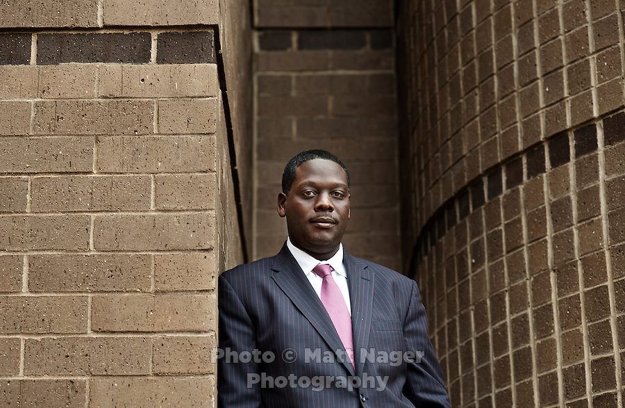 Dallas County District Attorney Craig Watkins (cq) at the Frank Crowley Courts Building in Dallas, Texas, Wednesday, February 23, 2011. Watkins has been instrumental in the high numbers of prison exonerees in Dallas, Texas since he arrived in office in 2006...Photo by Matt Nager