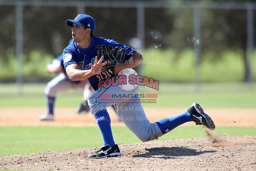 Italy National Team pitcher Justin Cicatello #11 during an Instructional League game against the Washington Nationals at Carl Barger Training Complex on September 28, 2011 in Viera, Florida.  (Mike Janes/Four Seam Images)