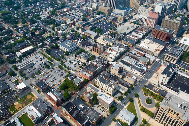Aerial view of wilmington, Delaware,4th st, king and market, shipyard tavern district
