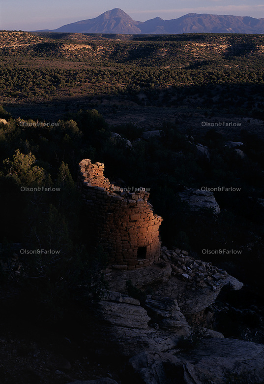 Painted Hand Pueblo which dates back to the late 1200s was home to an extended family and includes a tower and sleeping rooms in the Canyons of the Ancients National Monument.  In the 164,000 acres the monument covers, there are 20,000 - 30,000 archeology sites. ..Canyon of the Ancients National Monument was home to the Anasazi people as early at 7500 B.C. For the past 8500 years, the Ancestral Puebloans, nomadic Ute and Navajo tribes have moved in and out of the region. ..The region had villages, field houses, dams, reservoirs, great kivas, cliff dwellings, shrines, sacred springs, agricultural fields, petroglyphs and sweat lodges.