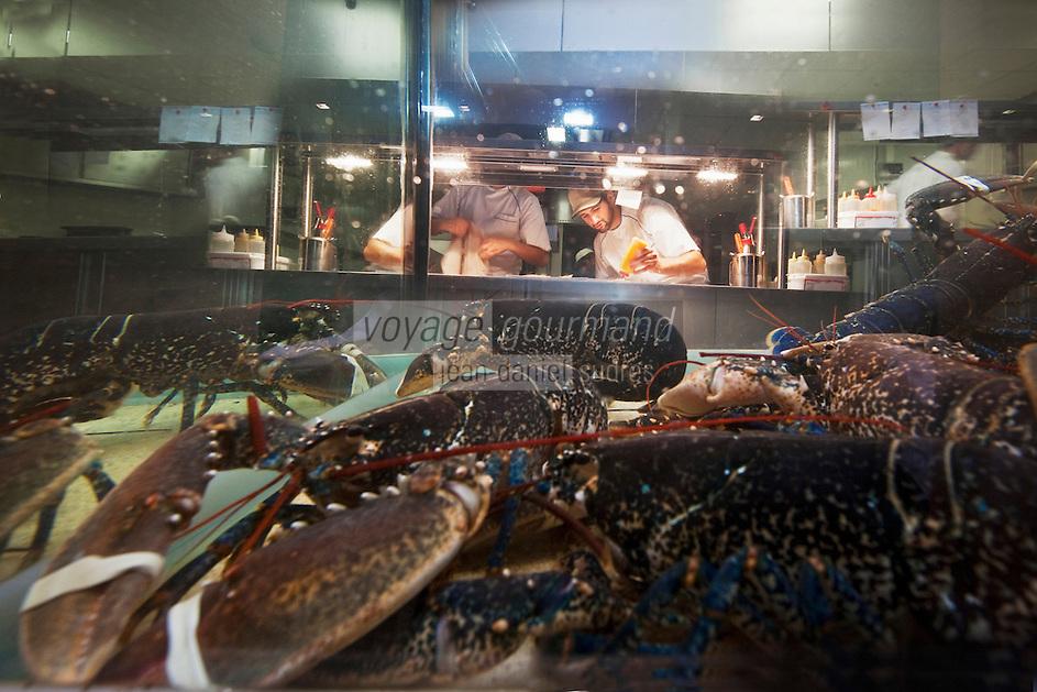 Europe/France/Aquitaine/40/Landes/Hossegor: Vivier à Homard du Restaurant: Jean des Sables, en fond en cuisine le chef  : Patrice Lubet