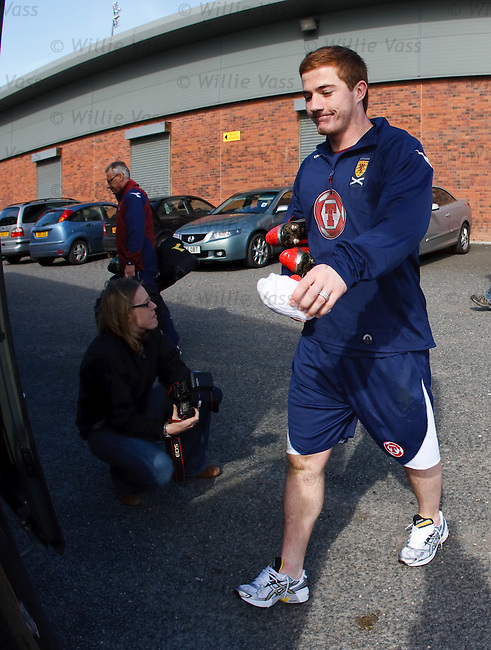 Ross McCormack leaving after Scotland's final training session at Dumbarton