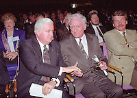 Montreal (qc) CANADA - file Photo - 1992 - <br /> Union des Municipalites du Quebec convention in April -<br /> Ralph Mercier, UMQ President and Mayor of Charlesbourg (L), Claude Ryan, Quebec Minister of Municipal Affairs (R)