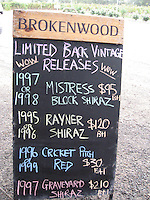 Wine list, Hunter Valley wine country, Australia