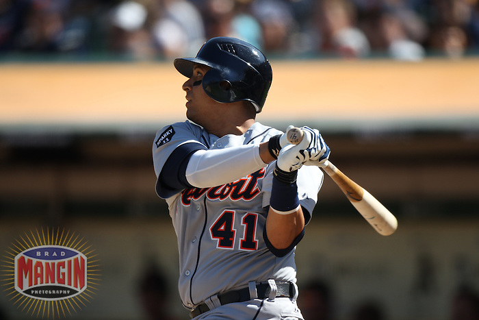 OAKLAND, CA - SEPTEMBER 17:  Victor Martinez #41 of the Detroit Tigers bats against the Oakland Athletics during the game at O.co Coliseum on September 17, 2011 in Oakland, California. Photo by Brad Mangin