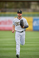 Ryan Schimpf (17) of the Salt Lake Bees on defense against the Sacramento River Cats at Smith's Ballpark on April 19, 2018 in Salt Lake City, Utah. Salt Lake defeated Sacramento 10-7. (Stephen Smith/Four Seam Images)