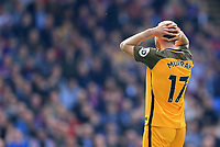 Glenn Murray of Brighton & Hove Albion holds his head in his hands during Crystal Palace vs Brighton & Hove Albion, Premier League Football at Selhurst Park on 14th April 2018