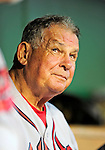 24 September 2010: Atlanta Braves Manager Bobby Cox sits in the dugout prior to facing the Washington Nationals at Nationals Park in Washington, DC. The Nationals defeated the Braves 8-3 to take the first game of their 3-game series. Mandatory Credit: Ed Wolfstein Photo
