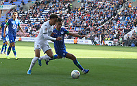 Leeds United's Helder Costa runs past Wigan Athletic's Antonee Robinson <br /> <br /> Photographer Stephen White/CameraSport<br /> <br /> The EFL Sky Bet Championship - Wigan Athletic v Leeds United - Saturday 17th August 2019 - DW Stadium - Wigan<br /> <br /> World Copyright © 2019 CameraSport. All rights reserved. 43 Linden Ave. Countesthorpe. Leicester. England. LE8 5PG - Tel: +44 (0) 116 277 4147 - admin@camerasport.com - www.camerasport.com