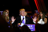 NEW YORK, NY MAY 03: Front Runner Republican presidential candidate Donald Trump speaks at theTrump Tower after his victory in the Indiana primary at the Trump Tower in Manhattan on May 03, 2016 in New York City.  Senator Ted Cruz suspended his presidential campaign hours after Trump was declared the winner(Photo by VIEWpress)