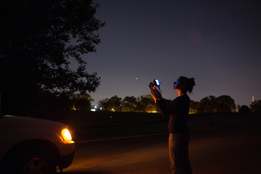 WASHINGTON, DC - JUNE 5, 2014: District Department of the Environment wildlife biologist Lindsay Rohrbaugh monitors bat populations in Rock Creek Park on June 5, 2014. (Photo by Lance Rosenfield/Prime for The Washington Post)