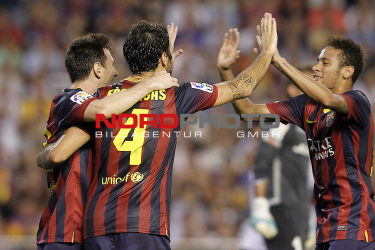FC Barcelona's Leo Messi (l), Cesc Fabregas and Neymar Santos Jr celebrate goal during La Liga match.September 1,2013. Foto © nph / Acero)
