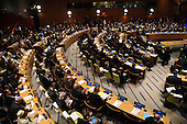 """World leaders and delegates listen as United States President Barack Obama (center panel) speaks at the """"Leader's Summit on Countering ISIL and Countering Violent Extremism"""" at the United Nations Headquarters, New York, New York on September 29, 2015.<br /> Credit: Anthony Behar / Pool via CNP"""