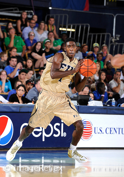 Florida International University guard Jason Boswell (1) plays against Florida Gulf Coast University.  FIU won the game 72-61 on December 7, 2013 at Miami, Florida.