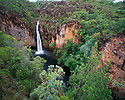 Australia, Northern Territory, Litchfield National Park, Tolmer Falls, in rainy season, lush green vegetation