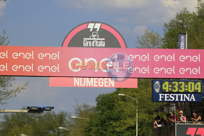 The finish line in Nijmegen during Stage 2 of the 2016 Giro d'Italia running 190km from Arnhem to Nijmegen, The Nethrerlands. 7th May 2016.<br /> Picture: Eoin Clarke | Newsfile<br /> <br /> <br /> All photos usage must carry mandatory copyright credit (&copy; Newsfile | Eoin Clarke)