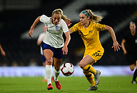 Toni Duggan of England battles with Ellie Carpenter of Australia during the Women's International friendly match between England Women and Australia at Ashton Gate, Bristol, England on 9 October 2018. Photo by Bradley Collyer / PRiME Media Images.