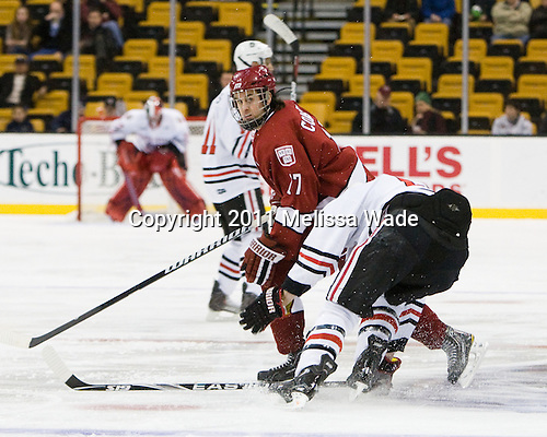 Rence Coassin (Harvard - 17) - The Northeastern University Huskies defeated the Harvard University Crimson 4-0 in their Beanpot opener on Monday, February 7, 2011, at TD Garden in Boston, Massachusetts.