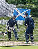 Cricket Scotland - Scotland train at Kent County cricket ground at Benkenham, ahead of two matches against Sri Lanka, on Sunday (tomorrow) and Tuesday - pic shows Craig Wallace and Richie Berrington in the nets - picture by Donald MacLeod - 20.05.2017 - 07702 319 738 - clanmacleod@btinternet.com - www.donald-macleod.com