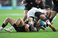 Jack Nowell of England brings down William Tupou of Japan during the Quilter International match between England and Japan at Twickenham Stadium on Saturday 17th November 2018 (Photo by Rob Munro/Stewart Communications)