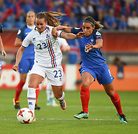 20170718 - TILBURG , NETHERLANDS : French Jessica Houara -D'Hommeaux (R) and Iceland's Fanndis Fridriksdottir (L) pictured during the female soccer game between France and Iceland  , the frist game in group C at the Women's Euro 2017 , European Championship in The Netherlands 2017 , Tuesday 18 th June 2017 at Stadion Koning Willem II  in Tilburg , The Netherlands PHOTO SPORTPIX.BE | DIRK VUYLSTEKE