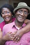 Elderly couple embracing.  MR